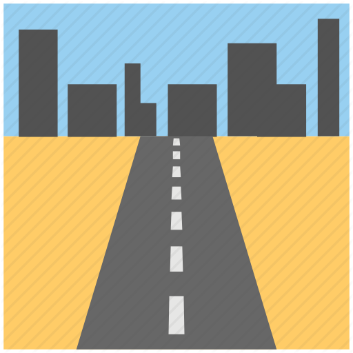 City Road, Highway, Road Through Buildings, Roadway, Urban Road Icon