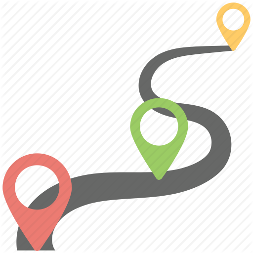 Gps, Navigation Concept, Road Map, Roadway, Winding Road Icon