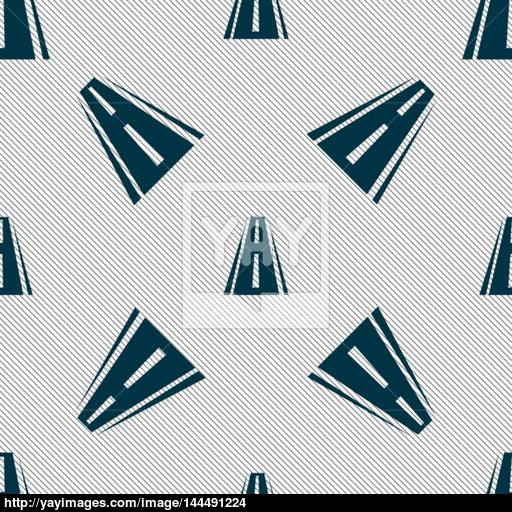 Road Icon Sign Seamless Pattern With Geometric Texture Vector