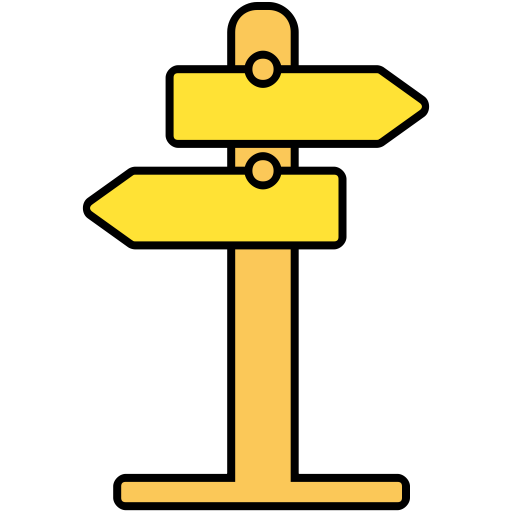 Indication Sign, Road Sign, Direction Sign Icon