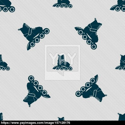 Roller Skate Icon Sign Seamless Pattern With Geometric Texture