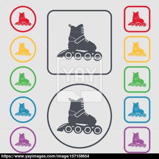 Roller Skate Icon Sign Symbol On The Round And Square Buttons