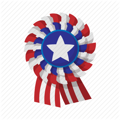 American, Cartoon, Independence, July, Ribbon, Rosette, Usa Icon