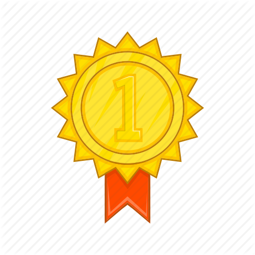 Award, Cartoon, Gold, Ribbon, Rosette, Sign, Winner Icon