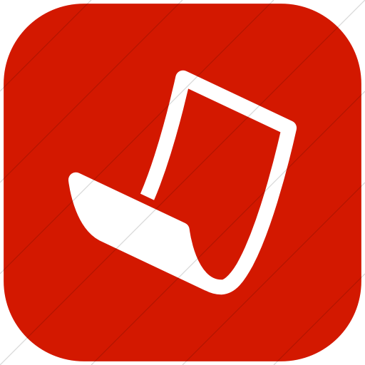 Flat Rounded Square White On Red Raphael Paper Icon