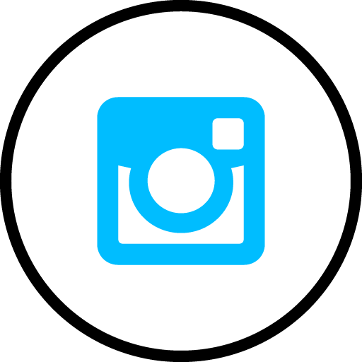 Instagram Free Social Media Blue Round Outline Icon Design
