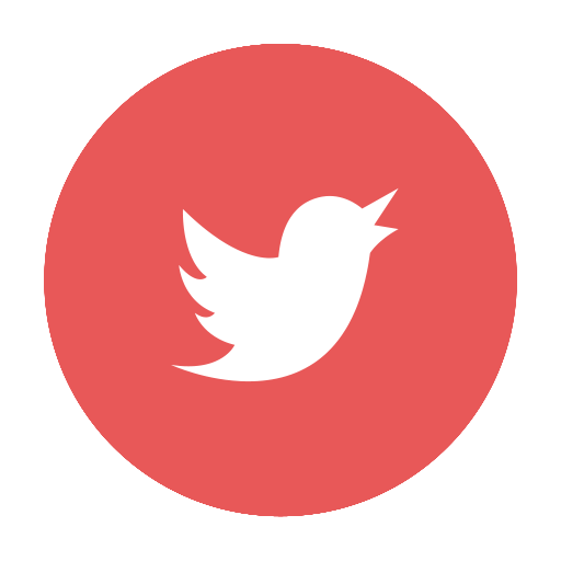 Circular, Media, Modern, Red, Social, T, Tw, Tweet, Twitter Icon