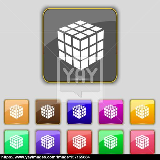 A Three Sided Cube Puzzle Box In Icon Sign Set With Eleven