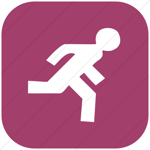 Flat Rounded Square White On Pink Classica Runner Icon