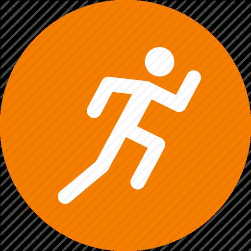 Circle, Exercise, Fitness, Orange, Run, Running, Workout Icon