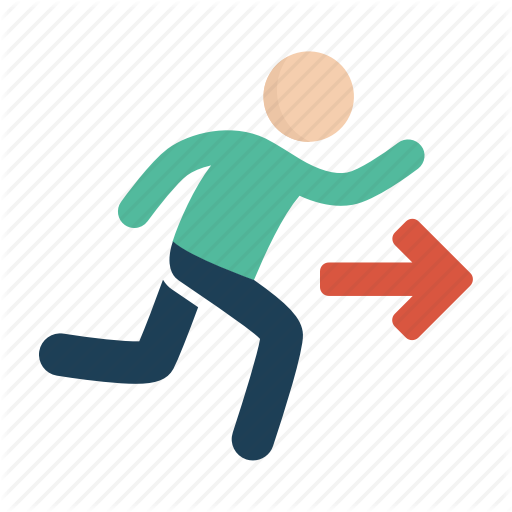 Emergency, Exit, Running Icon