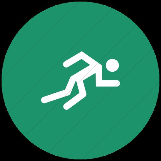 Flat Circle White On Aqua Sports Running Icon