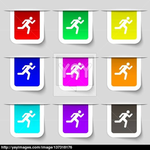 Running Man Icon Sign Set Of Multicolored Modern Labels For Your