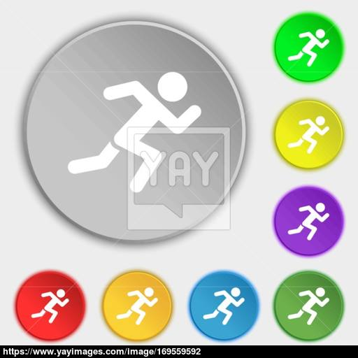 Simple Running Human Icon Sign Symbol On Eight Flat Buttons