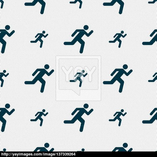 Running Man Icon Sign Seamless Pattern With Geometric Texture