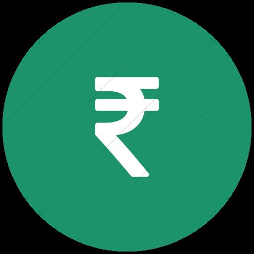 Flat Circle White On Aqua Bootstrap Font Awesome Rupee Icon
