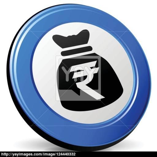 Rupee Bag Icon Vector