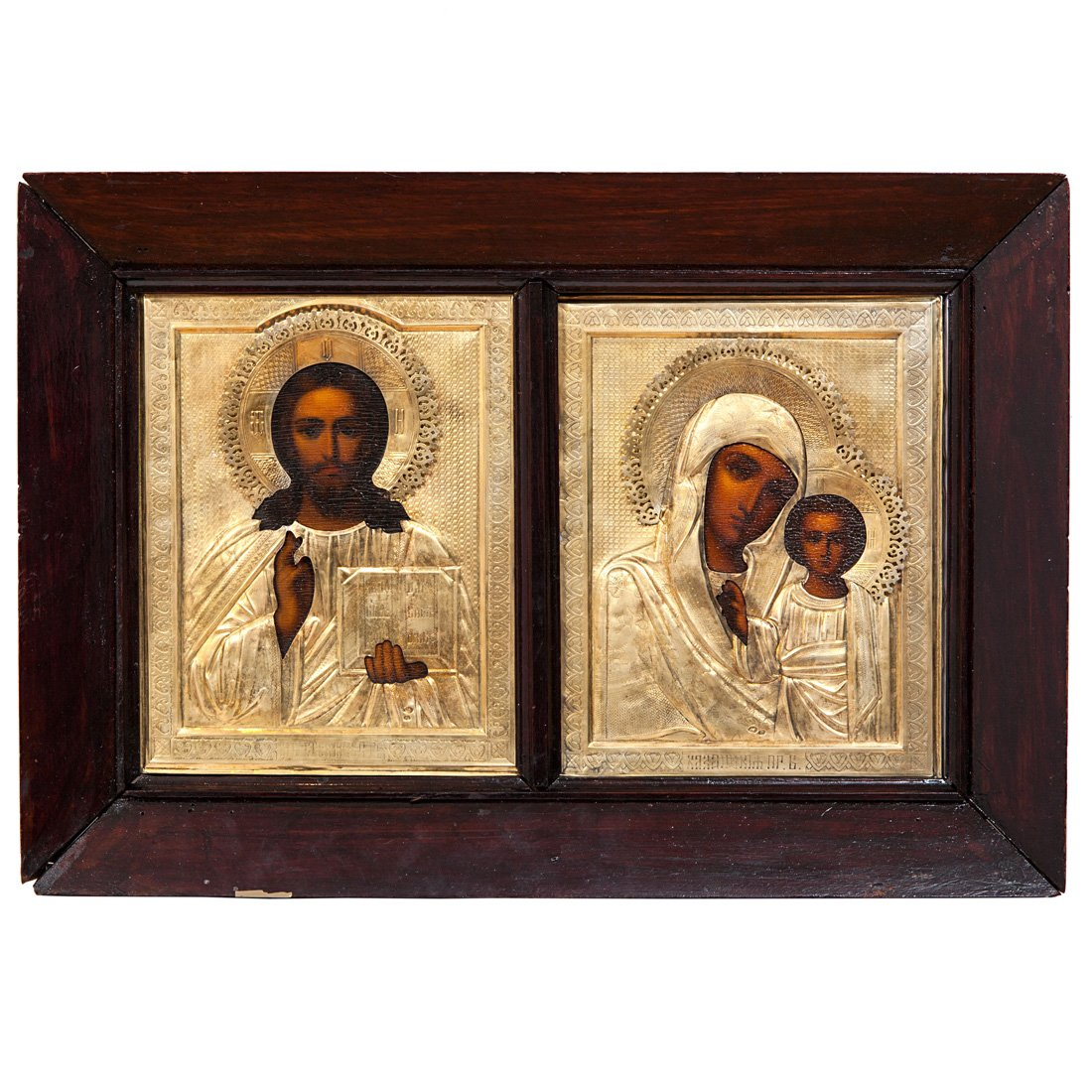 A Pair Of Russian Wedding Icons In Silver Gilt Oklads
