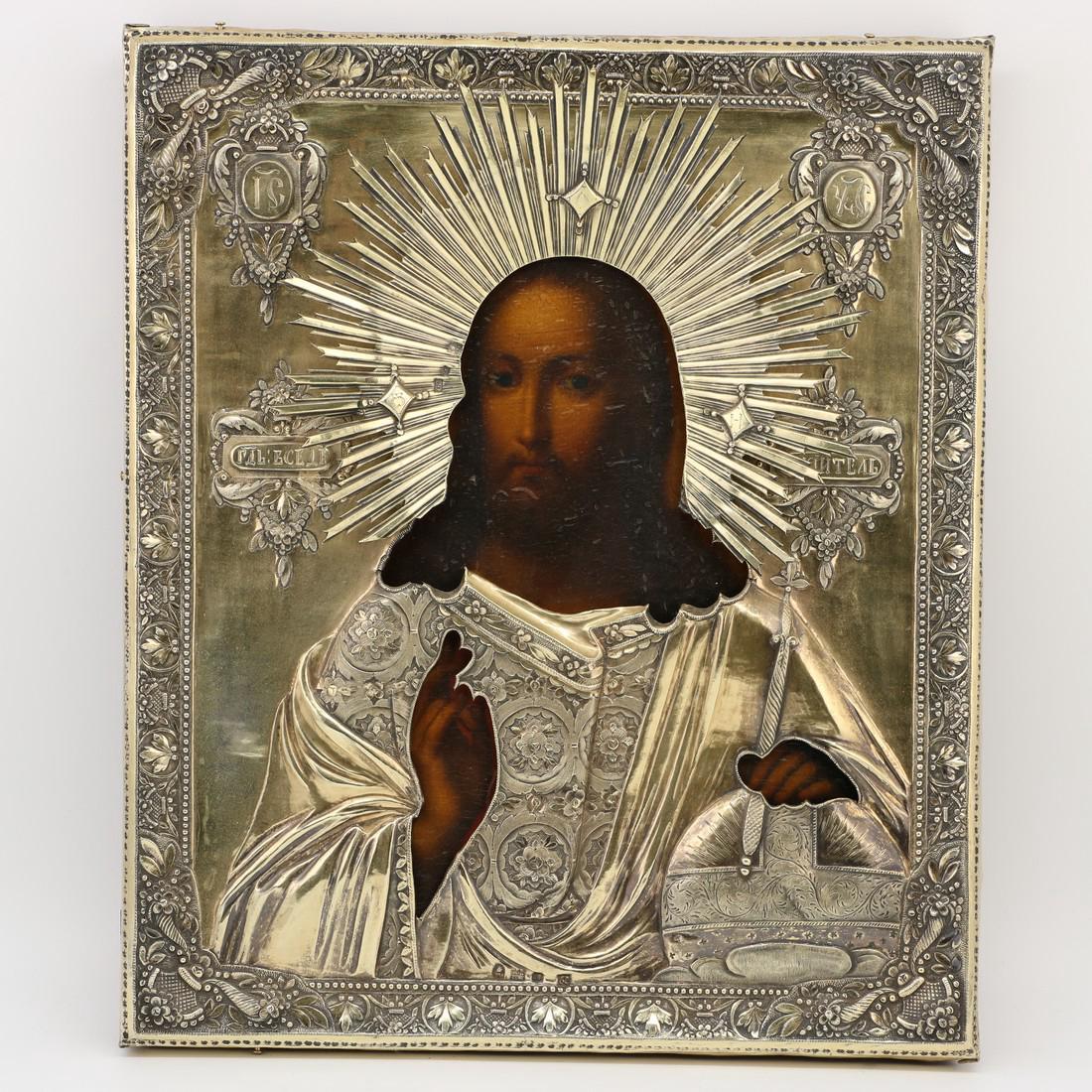 Christ Pantocrator Silver Riza Russian Icon