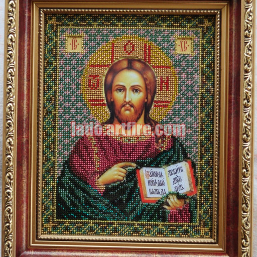 Jesus Christ Pantocrator Orthodox Christian Bead Embroidered Icon