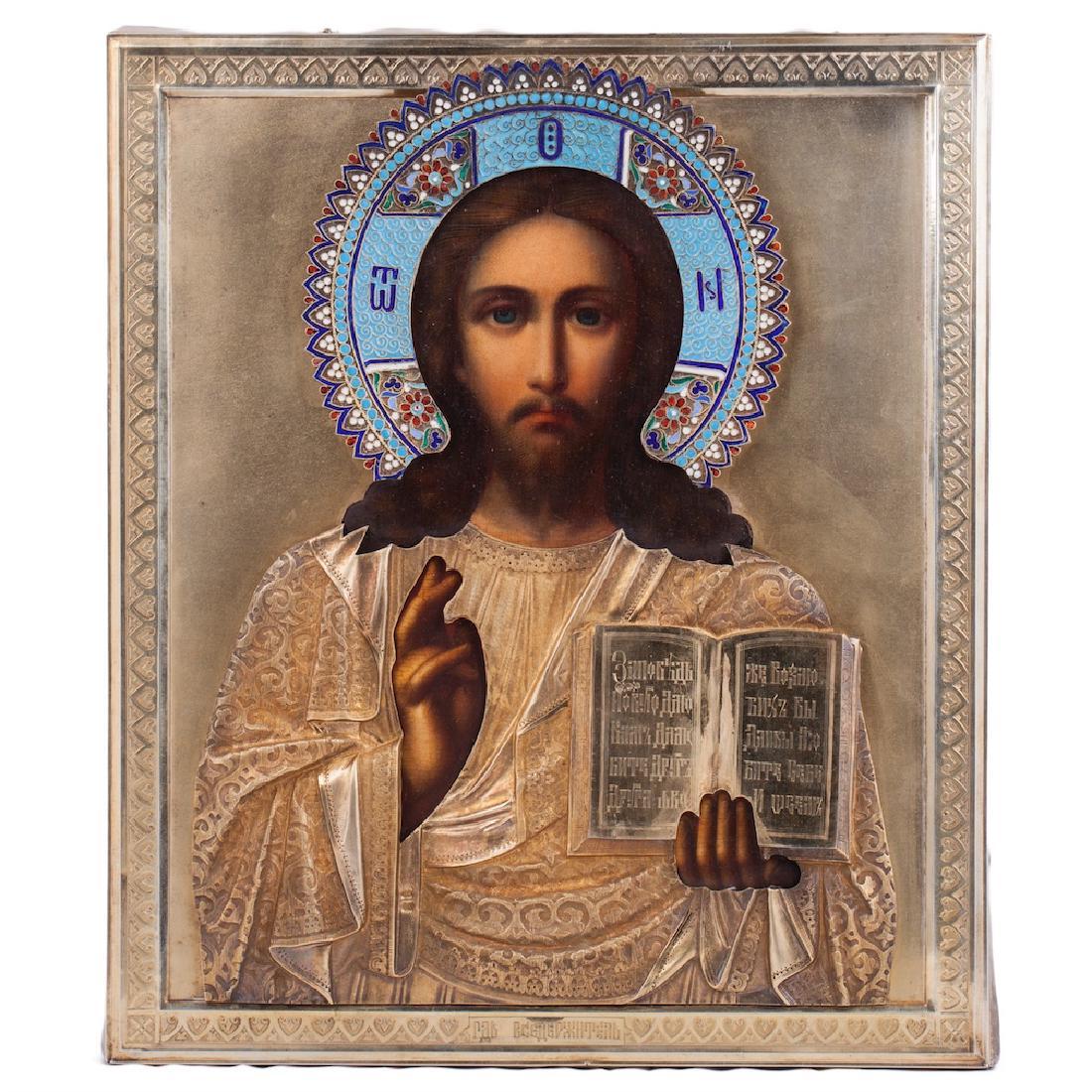 Russian Century Icon Of Christ Pantokrator