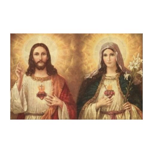 Most Sacred Heart Of Holy Jesus And Holy Mary Canvas Print
