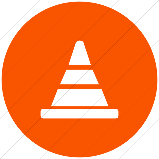 Flat Circle White On Orange Broccolidry Traffic Cone Icon