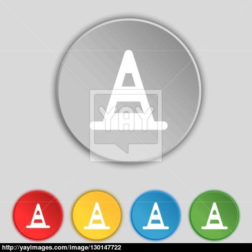 Road Cone Icon Sign Symbol On Five Flat Buttons Vector Vector