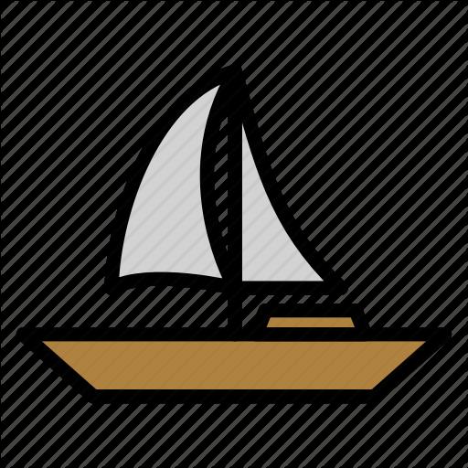 Sail, Sailboat, Sea, Ship, Transportation Icon
