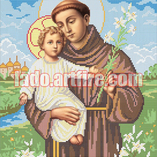 St Anthony The Padua Diy Bead Embroidery Kit, Religious Picture