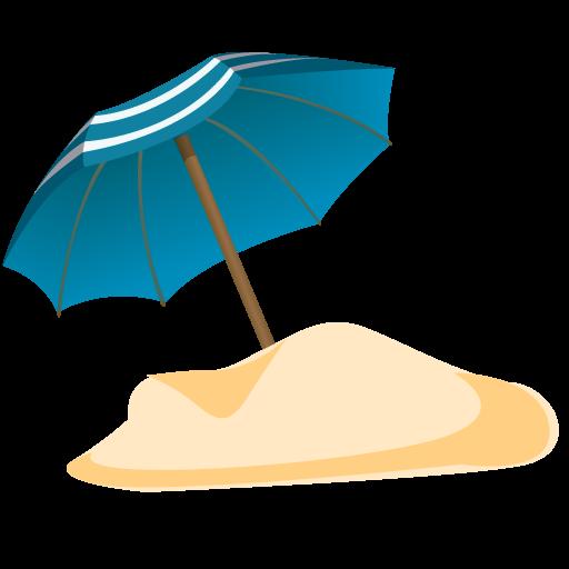 Parasol Sand Icon Summer Blue Iconset Dapino