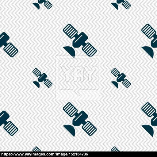 Satellite Icon Sign Seamless Pattern With Geometric Texture