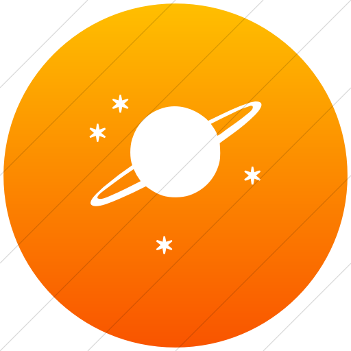 Flat Circle White On Orange Gradient Classica Saturn Icon