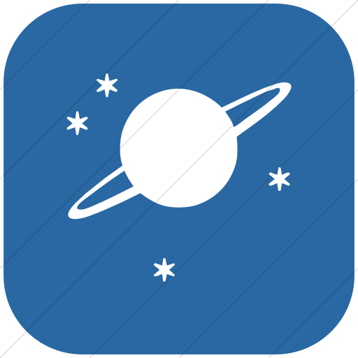 Flat Rounded Square White On Blue Classica Saturn Icon
