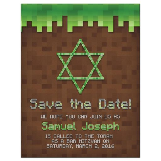 Pixel Video Game Bar Mitzvah Save The Date Card Building Blocks