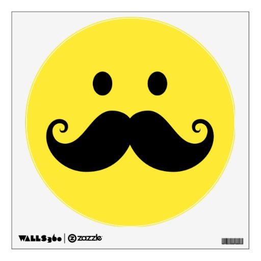 Fun Yellow Face With Handlebar Mustache Wall Sticker