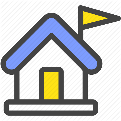 Elementary School, Flag, High School, House, School Icon