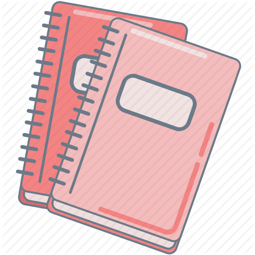Notebooks, Pink, School, Study Icon