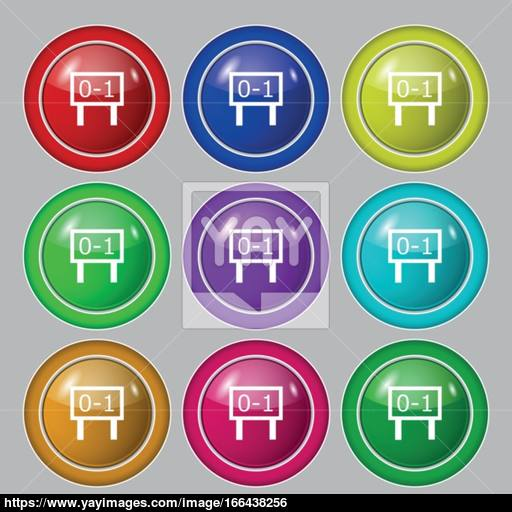 Scoreboard Icon Sign Symbol On Nine Round Colourful Buttons