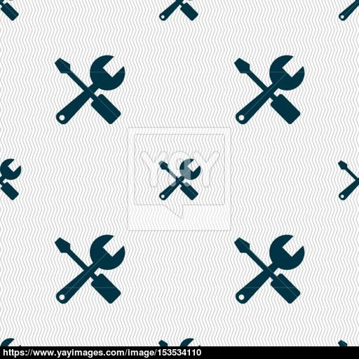 Wrench And Screwdriver Icon Sign Seamless Pattern With Geometric