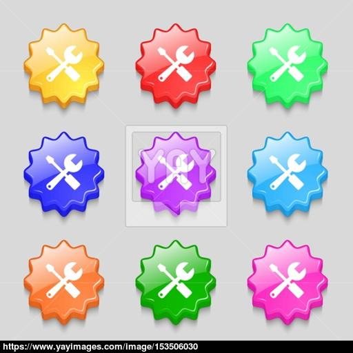 Wrench And Screwdriver Icon Sign Symbol On Nine Wavy Colourful