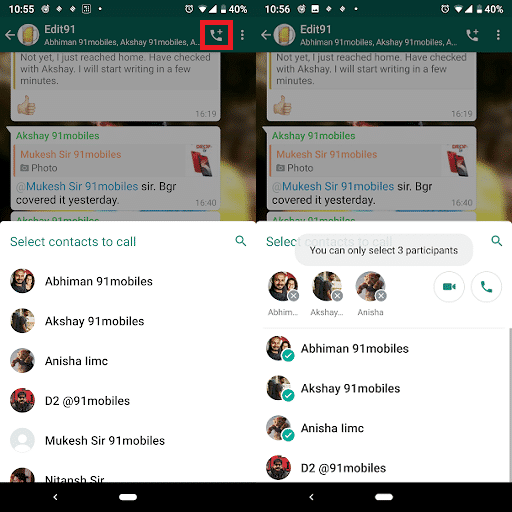 Whatsapp Groups Get Voice Video Calling Button Multi Share