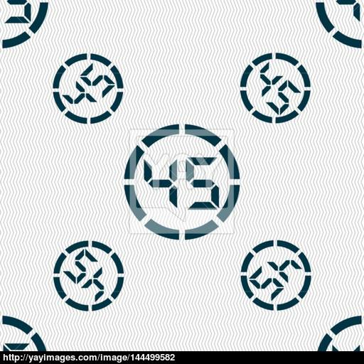 Second Stopwatch Icon Sign Seamless Pattern With Geometric