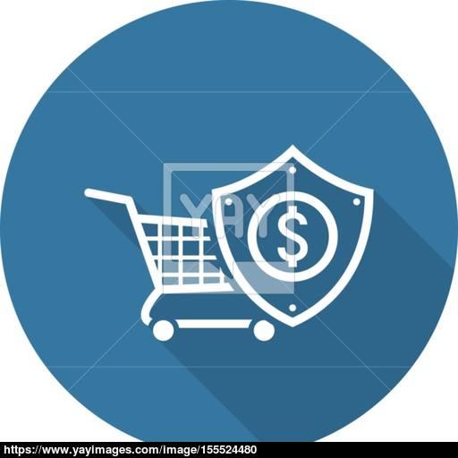 Safe Shopping Icon Flat Design Vector