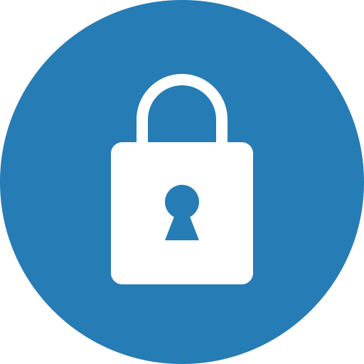 Blue, Circle, Lock, Privacy, Safe, Secure, Security Icon