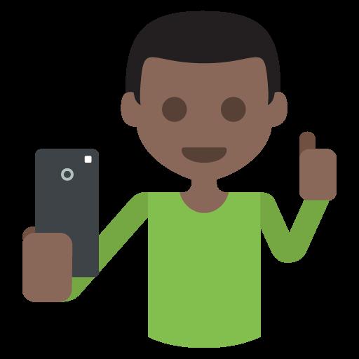 Selfie Dark Skin Tone Emoji Emoticon Vector Icon Free Download