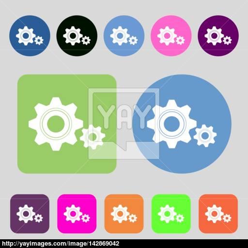 Cog Settings Sign Icon Cogwheel Gear Mechanism Symbol Colored