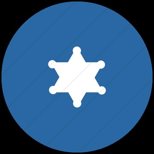 Flat Circle White On Blue Foundation Sheriff Badge Icon