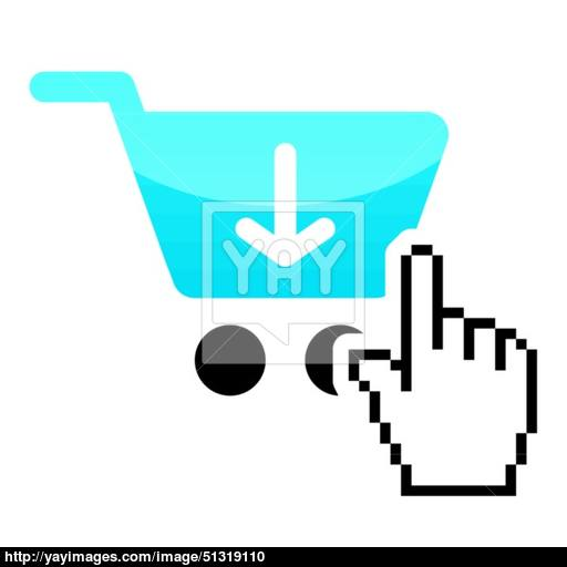 Shopping Car Glossy Icon With Cursor Hand Icon Vector
