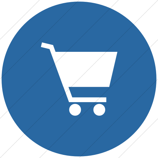 Flat Circle White On Blue Classica Shopping Cart Icon